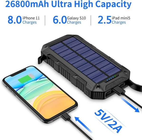 GRDE 26800mAh Solar Power Bank 2